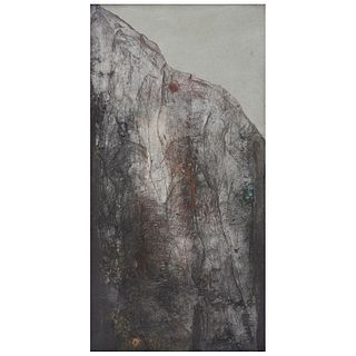 """IRMA PALACIOS, Sierra, Signed and dated 85, Oil and sand on canvas, 47.2 x 23.6"""" (120 x 60 cm)"""
