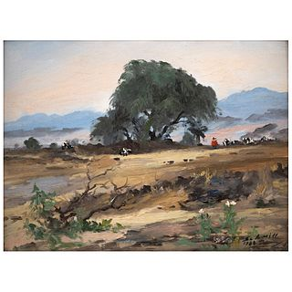 """JOSÉ MANUEL SCHMILL, Paisaje, Signed and dated 1988, Oil on canvas on cardboard, 12.2 x 15.9"""" (31 x 40.5 cm)"""