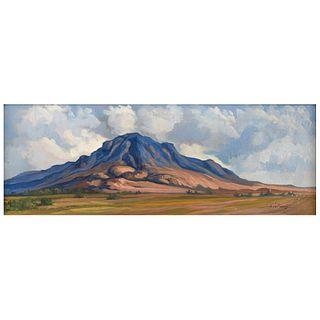 "EDUARDO CASTELLANOS, Paisaje, Signed and dated 70, Oil on canvas, 10 x 27.1"" (25.5 x 69 cm)"