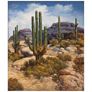 "JAIME GÓMEZ DEL PAYÁN, Desierto de Cataviña B.C.S, Signed and dated 98 on front and frame, Oil on canvas, 27.5 x 23.8"" (70 x 60.5 cm)"
