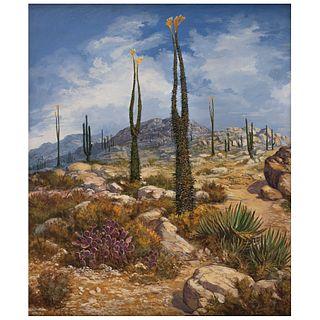 "JAIME GÓMEZ DEL PAYÁN, Desierto de Calaviña B.C.S, Signed and dated 98 on front and frame, Oil on canvas, 27.5 x 23.6"" (70 x 60 cm)"
