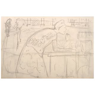 "DIEGO RIVERA, Mujer juchiteca, Signed, Graphite pencil on paper, 5.9 x 9"" (15 x 23 cm)"