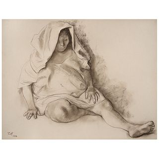 "FRANCISCO ZÚÑIGA, Mujer sentada con paño, Signed and dated 1972, Sanguine and conté on paper, 19.6 x 25.5"" (50 x 65 cm)"