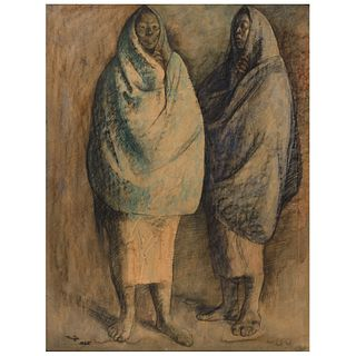 """FRANCISCO ZÚÑIGA, Dos mujeres de pie, Signed and dated 1965, Charcoal, crayon, and watercolor on paper, 25.3 x 19.2"""" (64.5 x 49 cm), Certificate"""