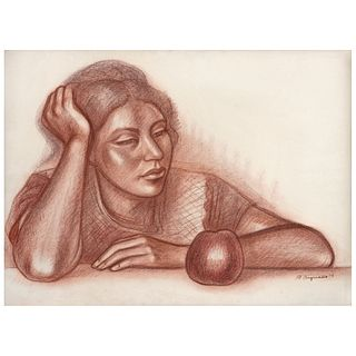 """RAÚL ANGUIANO, Mujer con manzana, Signed and dated 76 front and back, Sanguine on paper, 22.4 x 30.1"""" (57 x 76.5 cm)"""
