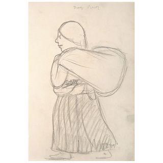 "DIEGO RIVERA, Mujer cargando, Signed, Graphite pencil on paper, 9.2 x 5.9"" (23.5 x 15 cm)"