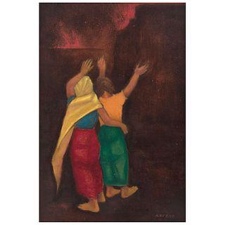 "IGNACIO NIEVES BELTRÁN NEFERO, El incendio, 1995, Signed front and back, Oil on canvas, 31.6 x 21.6"" (80.5 x 55 cm)"