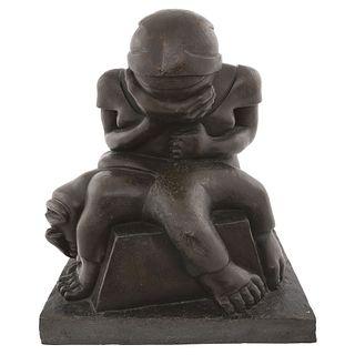 "FRANCISCO ARTURO MARÍN, Campesino sacrificado, Signed, Bronze sculpture, 13.7 x 12.4 x 10.8"" (35 x 31.5 x 27.5 cm)"