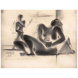 "SANTOS BALMORI, Untitled, Signed and dated 84, Charcoal and watercolor on paper, 12.9 x 16.5"" (33 x 42 cm)"