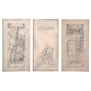"JUAN O'GORMAN, Estudio para los murales del Castillo de Chapultepec, Signed, Graphite pencil on paper, 16.1 x 8.6"" (41 x 22 cm) each, Pieces: 3 togeth"