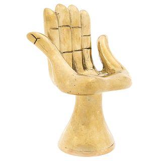 "PEDRO FRIEDEBERG, Silla mano seis dedos, Signed on base, Bronze sculpture 6 / 6, 5.5 x 4.1 x 3.5"" (14 x 10.5 x 9 cm)"