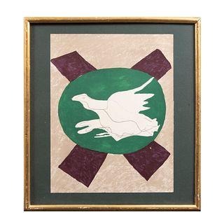GEORGES BRAQUE. Paloma. Sin firma. Pochoir / Esténcil. Enmarcada. Detalles de conservación. 32 x 24.5 cm