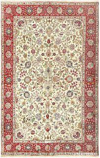 VINTAGE PERSIAN TABRIZ RUG, 10 ft 8 in x 7 ft
