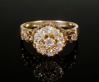 18K GOLD VICTORIAN MINE CUT DIAMOND RING