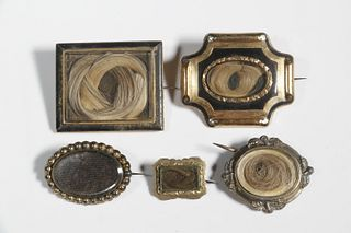 (5) VICTORIAN HAIR BROOCHES