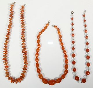 (3) CARNELIAN BEAD NECKLACES