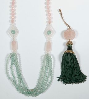 (2 PCS) CARVED ROSE QUARTZ - NECKLACE & SILK TASSEL