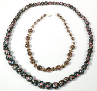 (2) ITALIAN VENETIAN BEAD NECKLACES