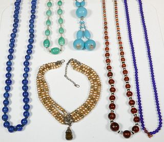 (6) BEADED NECKLACES