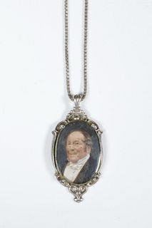 SILVER MOUNTED MINIATURE PORTRAIT ON CHAIN