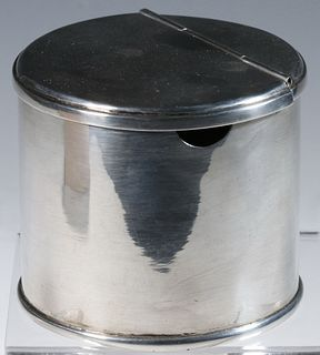 EGYPTIAN SILVER LIDDED JAR