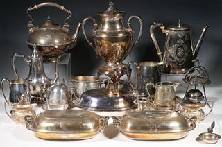 (19 PC) COLLECTION OF SILVER-PLATE