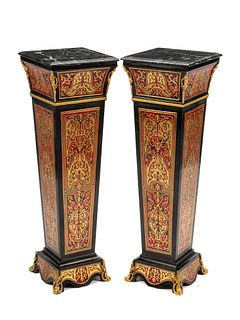 A Pair of Louis XIV Style Gilt Bronze Mounted Boulle Marquetry Marble-Top Pedestals