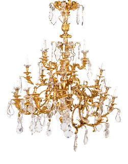 A Louis XV Style Gilt Bronze and Cut Glass Chandelier