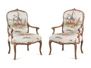 A Pair of Louis XV Style Faux Bois-Carved Fauteuils