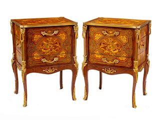 A Pair of Louis XV Style Gilt Bronze Mounted Marquetry Small Commodes