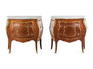 A Pair of Louis XV Style Gilt Bronze Mounted Marble-Top Bombe Commodes
