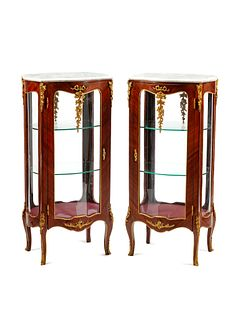 A Pair of Louis XV Style Gilt Bronze Mounted Marble-Top Vitrine Cabinets