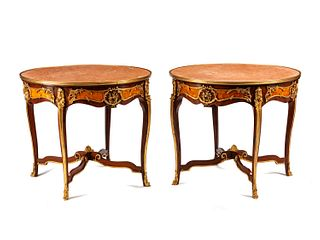A Pair of Large Louis XV Style Bronze Mounted Marble-Top Gueridons