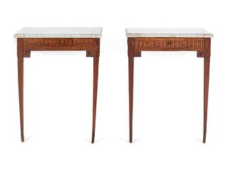 A Pair of Louis XVI Style Marble-Top Console Tables