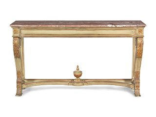 A Louis XVI Style Painted and Parcel Gilt Marble-Top Console Table