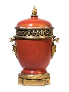 A Louis XVI Gilt Bronze Mounted Lacquer Urn