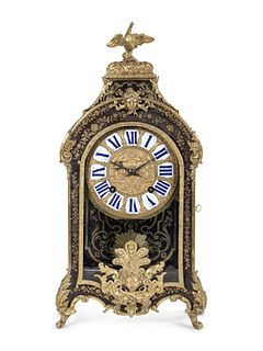 A Louis XVI Gilt Bronze Mounted Boulle Marquetry Bracket Clock