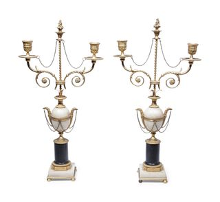 A Pair of Directoire Gilt Bronze, Alabaster and Marble Two-Light Candelabra