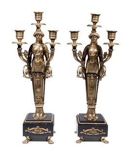A Pair of Empire Style Gilt Bronze Figural Three-Light Candelabra