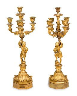 A Pair of Louis Philippe Gilt Bronze Five-Light Figural Candelabra
