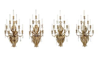A Set of Four Gilt Bronze and Baccarat Glass Sconces