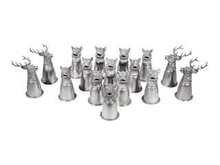 A Set of Sixteen Boar and Stag Head Silver-Plate Stirrup Cups
