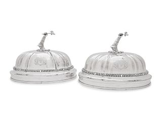 A Pair of Paul Storr Silver Mounted George IV Sheffield Plate Dome Covers