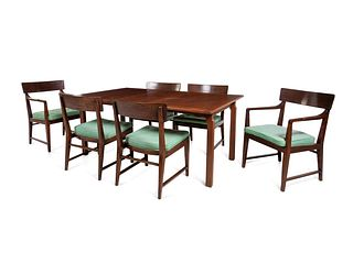 Edward Wormley (American, 1907-1995) Dining Suite,comprising a dining table with three leaves and a set of six dining chairs,Dunbar, USA