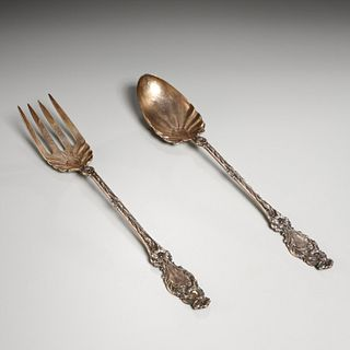 Whiting sterling silver lily salad serving set