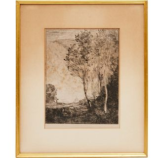Jean Baptiste Camille Corot, etching