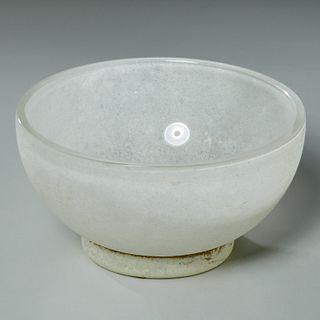Karl Springer (attrib) corroso glass bowl