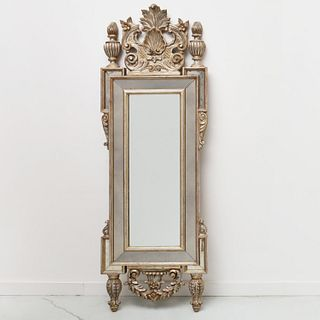Italian carved and silvered wood wall mirror