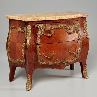 Louis XV style miniature marble top commode