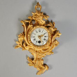 Louis XV style gilt bronze petit cartel clock
